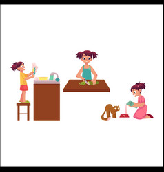 Girl washing dishes cooking feeding her cat vector