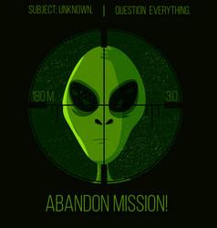 Green alien head under a hunters sniper poster vector