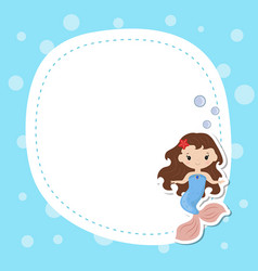Greeting card withcute girl mermaid greeting card vector