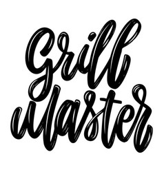 grill master lettering phrase isolated on white vector image