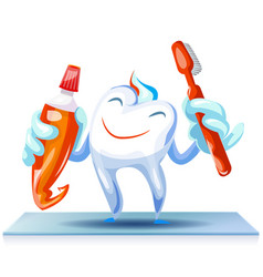 happy clean tooth concept background cartoon vector image