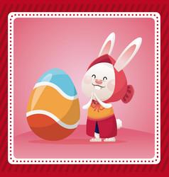 Happy easter girl bunny egg celebration vector