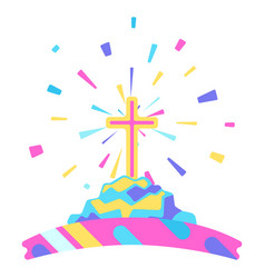 happy easter with cross vector image