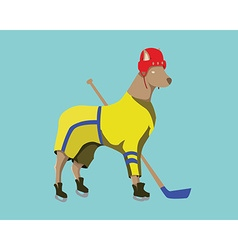 Hockey Dog Mascot in Yellow Sportswear vector image