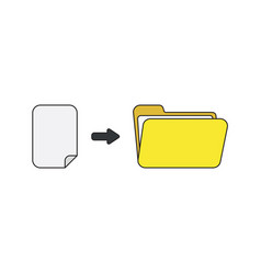 icon concept blank paper into open folder vector image