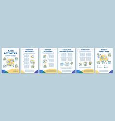kids activities brochure template layout flyer vector image