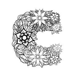 letter c dudling drawing mandala vector image