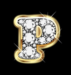 Letter p in gold vector