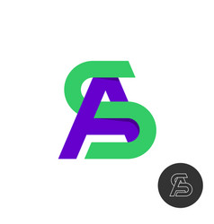letters a and s monogram logo color type signs sa vector image