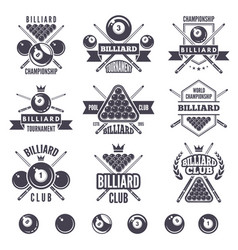 logos set for billiard club vector image