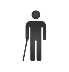 Man walking with cane line icon for web mobile vector