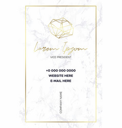 marble business card with a gold crystal logo vector image
