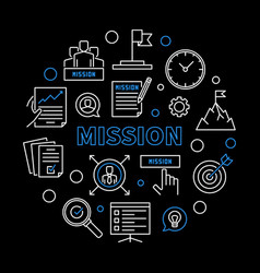 mission circular business concept outline vector image