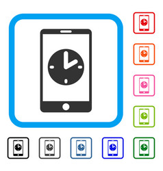 mobile time framed icon vector image
