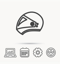 motorcycle helmet icon biking sport sign vector image