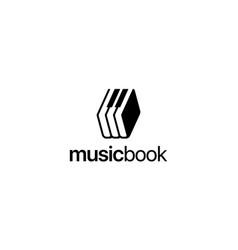 Music and book logo design concept vector