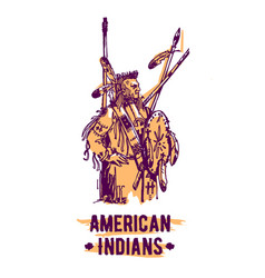 Native american indian hand drawn vector