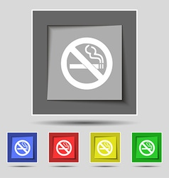No smoking icon sign on original five colored vector