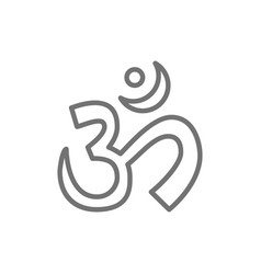 om or aum indian sacred sound symbol mantra line vector image
