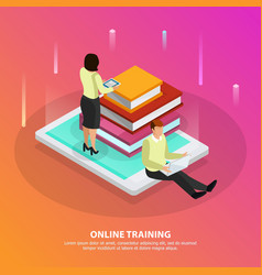 Online training isometric design concept vector