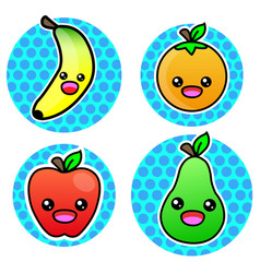 orange banana apple pear fruit cartoon color vector image