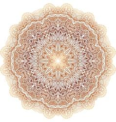 Ornate vintage beige doodle circle pattern vector image