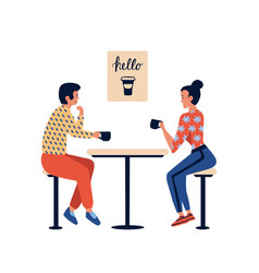 People in cafe couple man and woman relaxing vector