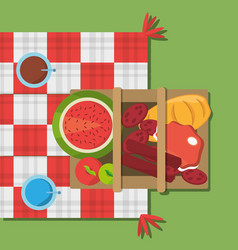Picnic basket food red and white blanket top view vector