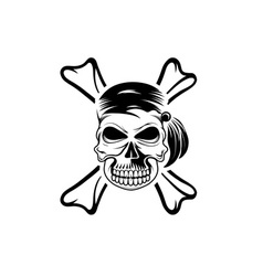 pirate skull with bones vector image