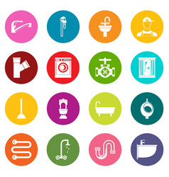 Plumbing icons many colors set vector
