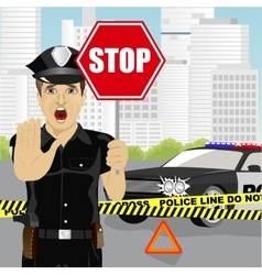 policeman holding stop sign warning about accident vector image