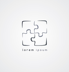 Puzzle jigsaw logo sign template vector