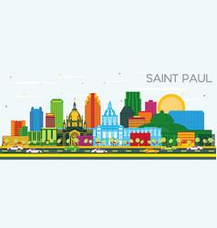 Saint paul minnesota city skyline with color vector