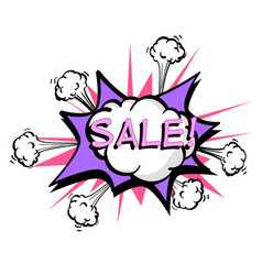 sale colorful speech bubble and explosions in pop vector image