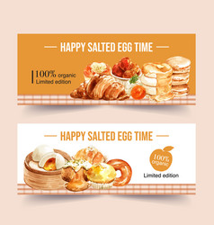 Salted egg banner design with bun croissant vector
