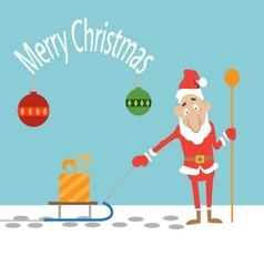 Santa Claus pulling a sled with a present vector image