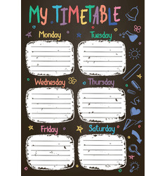 School timetable template on chalk board vector