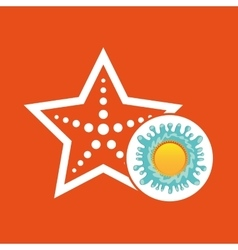 Sea starfish summer vacation sun splashes label vector