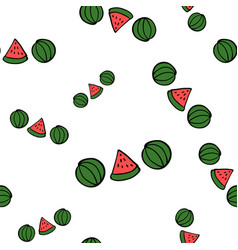 seamless doodle watermelons on white background vector image