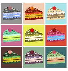 Set icons in flat design berry cake vector