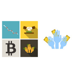 set of economic icons included chart with icons vector image