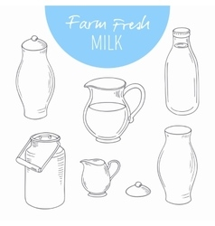 Set of sketchy dairy farm objects vector image