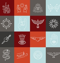 Set of trendy linear hipster icons and symbols vector