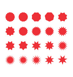 set red starburst badges blank discount offer vector image