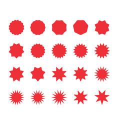 set red starburst badges blank discount offer vector image