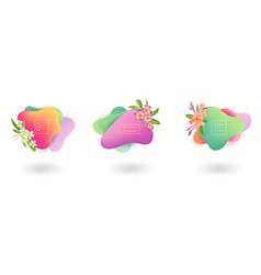 set summer banner template tropical liquid vector image