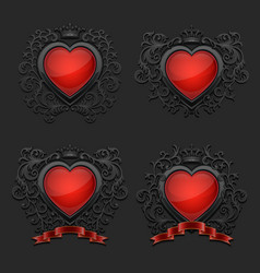 Set with glossy hearts coat arms vector