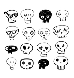 Skulls doodles set vector