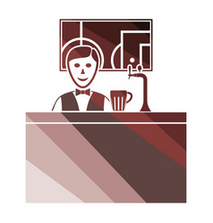 sport bar stand with barman behind it and vector image