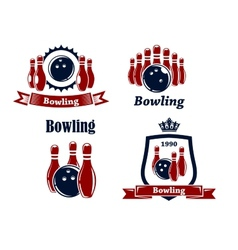 Sporting bowling emblems and symbols vector image